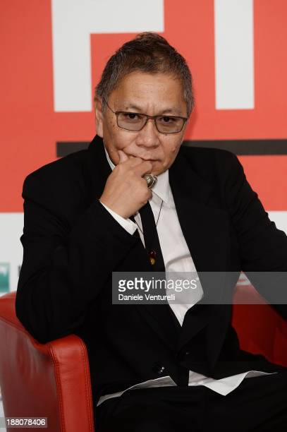 Director Takashi Miike attends the 'The Mole Song' Photocall during the 8th Rome Film Festival at the Auditorium Parco Della Musica on November 15,...