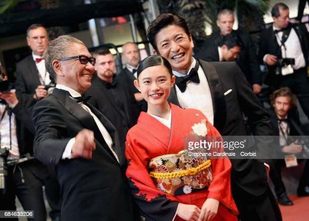 Director Takashi Miike Hana Sugisaki and Takuya Kimura attend the 'Blade Of The Immortal ' premiere during the 70th annual Cannes Film Festival at...