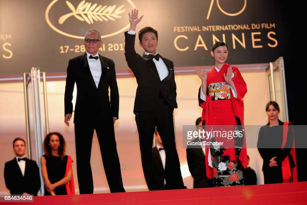 Director Takashi Miike Takuya Kimura and Hana Sugisaki attend the Blade Of The Immortal premiere during the 70th annual Cannes Film Festival at...
