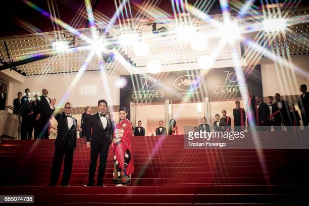 Director Takashi Miike Takuya Kimura and Hana Sugisaki attend the 'Blade Of The Immortal ' premiere during the 70th annual Cannes Film Festival at on...