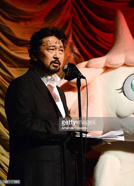 Director Takashi Murakami and 'Kuragebo' attend a Film Independent at LACMA special screening of 'Jellyfish Eyes' at Bing Theatre At LACMA on April 8...