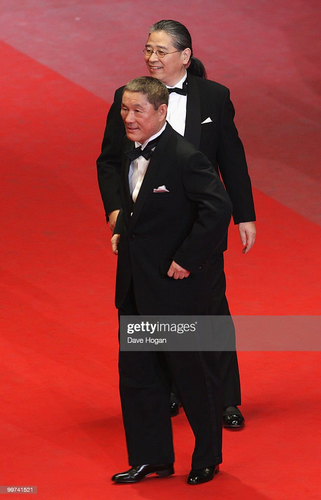 Director Takeshi Kitano and Masayuki Mori attend 'Outrage' Premiere at the Palais des Festivals during the 63rd Annual Cannes Film Festival on May 17, 2010 in Cannes, France.