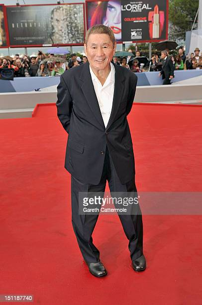 Director Takeshi Kitano attends the Outrage Beyond Premiere during the 69th Venice Film Festival at the Palazzo del Cinema on September 3 2012 in...