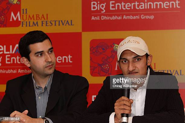 Director Tariq Tapa and Indian actor Mohamad Imran Tapa attend the press conference for film Zero Bridge during MAMI Film Festival held at Fun...
