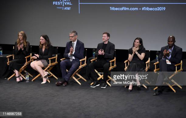 Director Taryn Southern director Elena Gaby Dr Andres Lozano Bryan Johnson Nita Farahany and Bolu Abijoye speak onstage at the I Am Human screening...