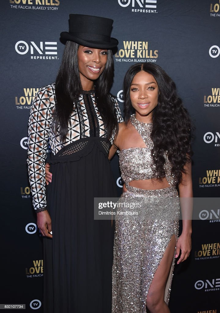 Director Tasha Smith and Lil Mama attend the 'When Love Kills: The Falicia Blakely Story' New York Premiere at AMC Empire 25 theater on August 15, 2017 in New York City.