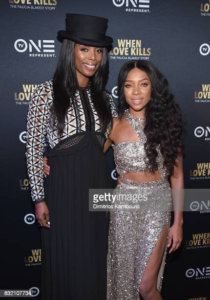 Director Tasha Smith and Lil Mama attend the 'When Love Kills The Falicia Blakely Story' New York Premiere at AMC Empire 25 theater on August 15 2017...