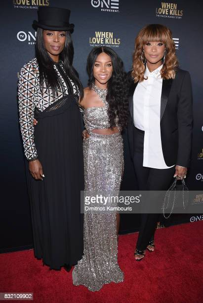 Director Tasha Smith Lil Mama and Tami Roman attend the 'When Love Kills The Falicia Blakely Story' New York Premiere at AMC Empire 25 theater on...