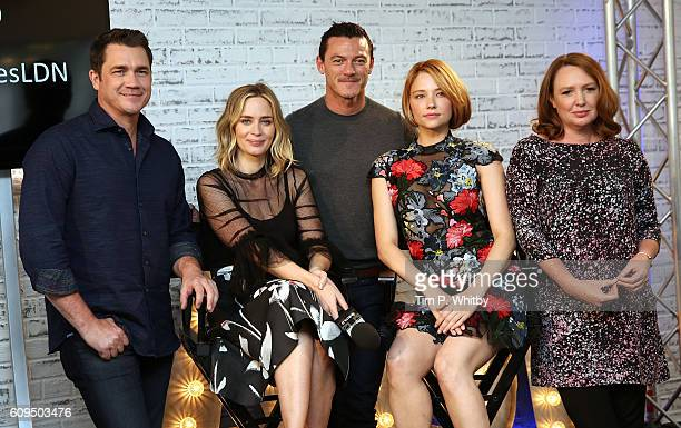 Director Tate Taylor Actors Emily Blunt Luke Evans Hayley Bennett and Writer Paula Hawkins pose for a photo as they take part in AOL's BUILD series...