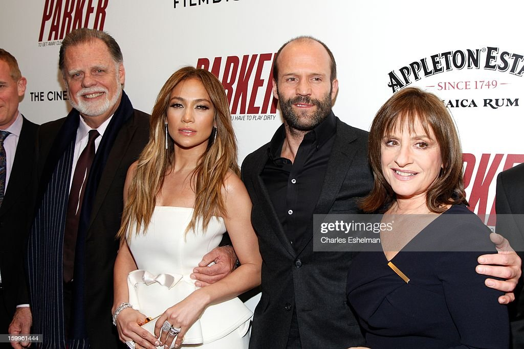 Director Taylor Hackford, actors Jennifer Lopez, Jason Statham and Patti LuPone attend the FilmDistrict with The Cinema Society, L'Oreal Paris & Appleton Estate screening of 'Parker' at The Museum of Modern Art on January 23, 2013 in New York City.