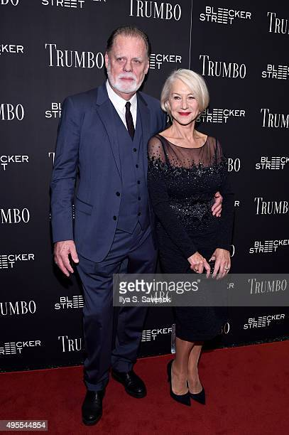 Director Taylor Hackford and Actress Helen Mirren attend the Trumbo New York premiere at MoMA Titus Two on November 3 2015 in New York City