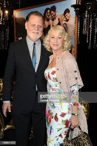 Director Taylor Hackford and Dame Helen Mirren attend Dolce Gabbana VIP Room at the Metropol during Milan Womenswear Fashion Week on February 26 2012...