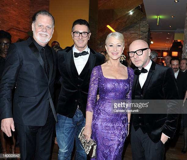 Director Taylor Hackford designer Stefano Gabbana dame Helen Mirren and Domenico Dolce attend Dolce Gabbana Cocktail Party at the Gold Restaurant as...