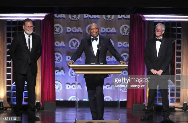 Director Taylor Hackford DGA President Paris Barclay and director Michael Apted speak onstage at the 66th Annual Directors Guild Of America Awards...