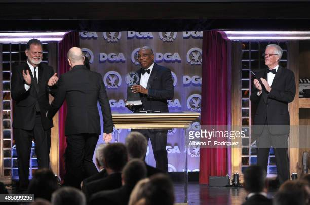 Director Taylor Hackford Director Steven Soderbergh accepting the Robert B Aldrich Service Award DGA President Paris Barclay and Michael Apted...