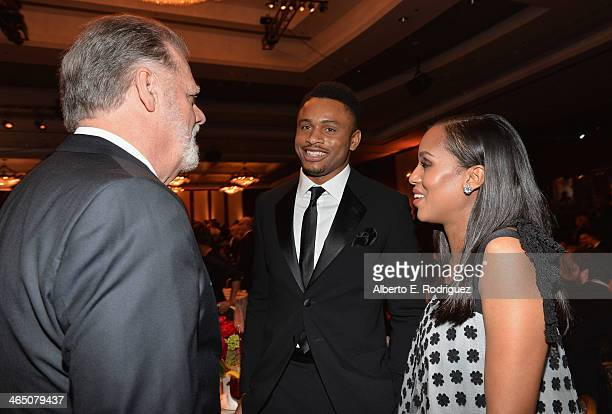 Director Taylor Hackford football player/actor Nnamdi Asomugha and actress Kerry Washington attend the 66th Annual Directors Guild Of America Awards...
