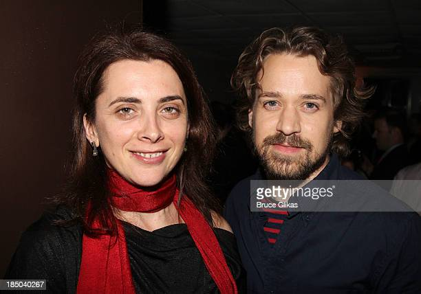 Director Tea Alagi and TR Knight attend the after party for 'Romeo And Juliet' Off Broadway opening night production at Pangea on October 16 2013 in...