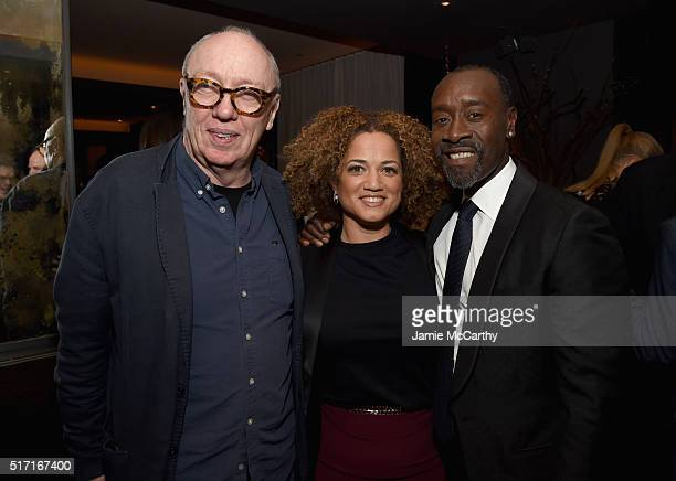 Director Terry George actress Bridgid Coulter and actor Don Cheadle attend the Sony Pictures Classics' Miles Ahead after party hosted by The Cinema...