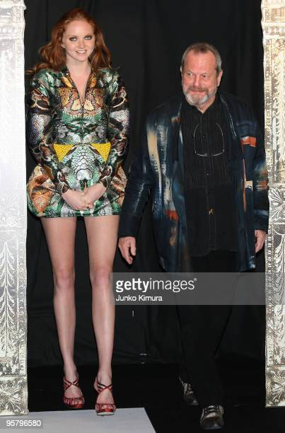 """Director Terry Gilliam and actress Lily Cole attend the """"The Imaginarium of Doctor Parnassus"""" Japan Premiere at Roppongi Hills on January 14, 2010 in..."""