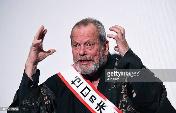 Director Terry Gilliam attends the stage greeting event for 'Zero Theorem' at Yebisu Garden Cinema on March 27 2015 in Tokyo Japan