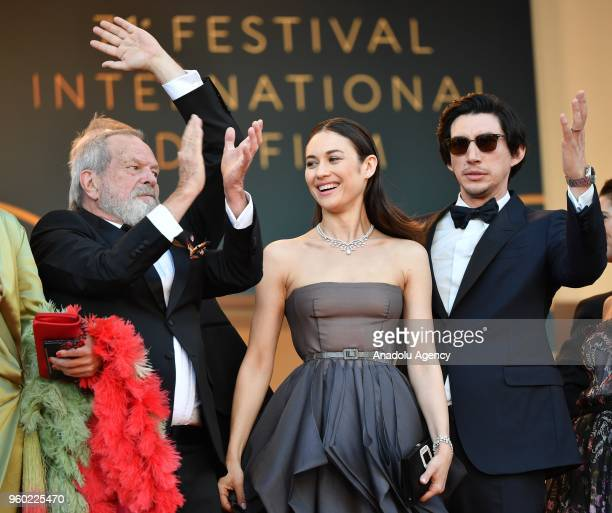 US director Terry Gilliam French Ukrainian actress Olga Kurylenko and US actor Adam Driver arrive for the screening of 'The Man who Killed Don...
