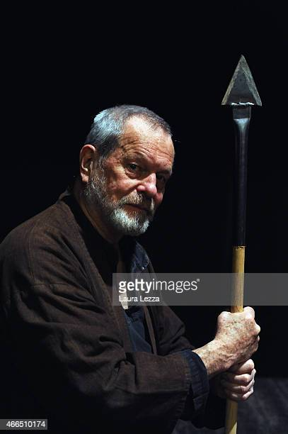 Director Terry Gilliam poses as 'Don Quixote' while attending a QA at the Lucca Film Festival on March 16 2015 in Lucca Italy