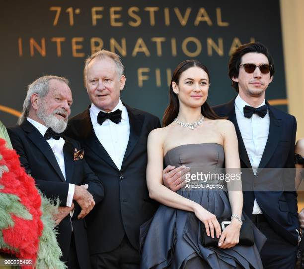 US director Terry Gilliam Swedish actor Stellan Skarsgard French Ukrainian actress Olga Kurylenko US actor Adam Driver arrive for the screening of...