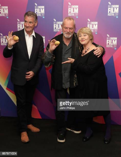Director Terry Gilliam with actors Michael Palin and Annette Badland depart the screening of Jabberwocky during the 61st BFI London Film Festival on...