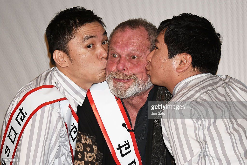Director Terry Gilliam (center), Yuji Tanaka (right) and Hikari Ota (left) of comedy duo Bakusho Mondai attend the stage greeting event for 'Zero Theorem' at Yebisu Garden Cinema on March 27, 2015 in Tokyo, Japan.