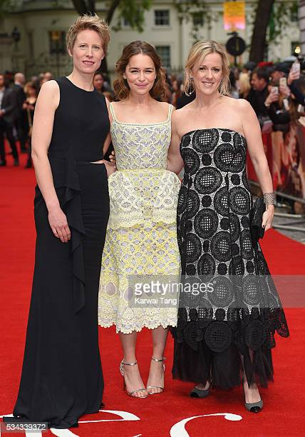 """Director Thea Sharrock, Emilia Clarke and author Jojo Moyes attend the European film premiere """"Me Before You"""" at The Curzon Mayfair on May 25, 2016..."""