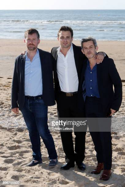 Director Thierry De Peretti HenriNoel Tabary and film producer attend photocall for 'Une vie violente' during 3rd day of the 31st Cabourg Film...