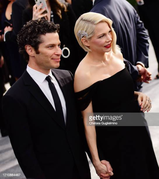 Director Thomas Kail and actress Michelle Williams attend the 26th annual Screen Actors Guild Awards at The Shrine Auditorium on January 19 2020 in...