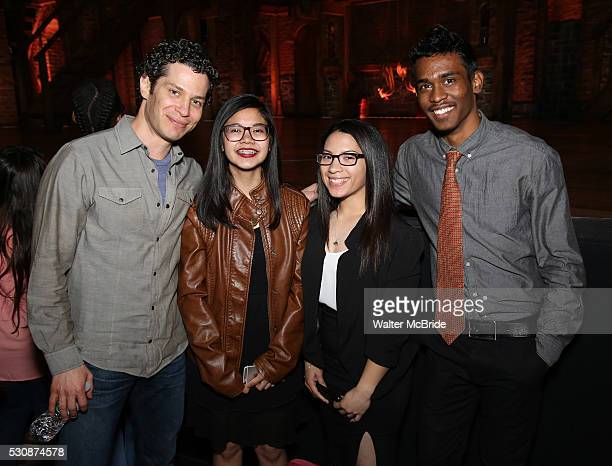 Director Thomas Kail greets students backstage as thirteen hundred students from New York City public schools gathered for a 'Hamilton' matinee...