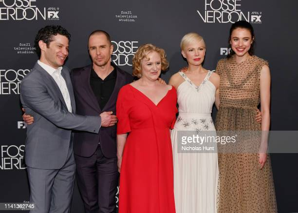 Director Thomas Kail Sam Rockwell Nicole Fosse Michelle Williams and Margaret Qualley attends the New York Premiere for FX's Fosse/Verdon on April 08...