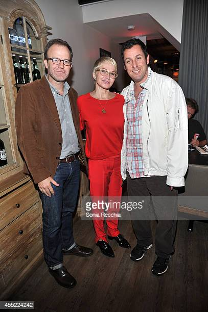 Director Thomas McCarthy actress Ellen Barkin and actor Adam Sandler attend The Cobbler dinner at Hudson Kitchen during the 2014 Toronto...