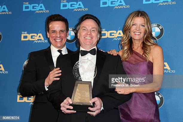 Director Thomas McDermott winner of the Franklin J Schaffner Achievement Award poses with actor Christian Jules Le Blanc and actress Michelle...