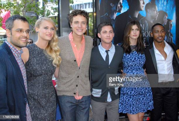 Director Thor Freudenthal and actors Leven Rambin Douglas Smith Logan Lerman Alexandra Daddario and Brandon T Jackson attend the premiere of 'Percy...