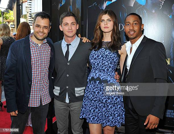 Director Thor Freudenthal with actors Logan Lerman Alexandra Daddario and Brandon T Jackson arrive at the premiere of 'Percy Jackson Sea Of Monsters'...