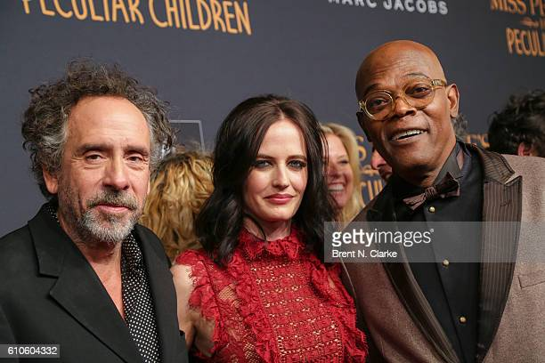 Director Tim Burton actress Eva Green and actor Samuel L Jackson attend the 'Miss Peregrine's Home for Peculiar Children' New York premiere held at...