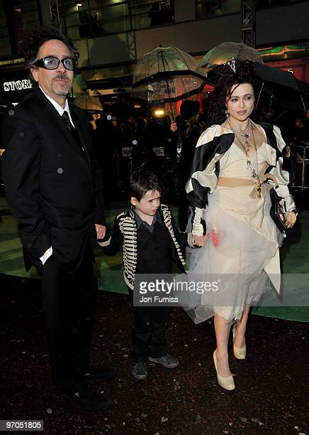 Director Tim Burton actress Helena Bonham Carter and their son attend the Royal World Premiere of Tim Burton's 'Alice In Wonderland' at the Odeon...