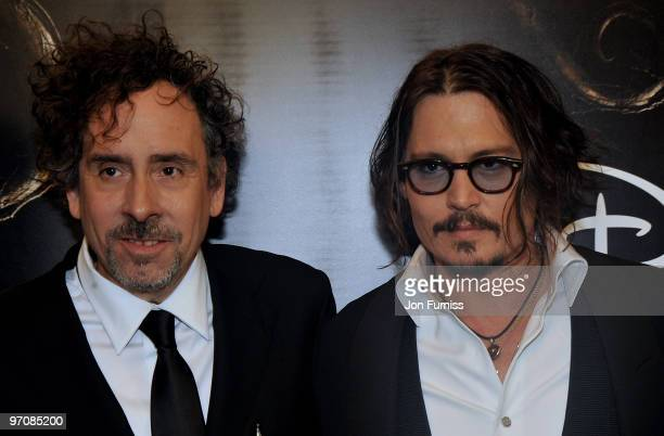Director Tim Burton and actor Johnny Depp attend the Royal World Premiere of Tim Burton's 'Alice In Wonderland' at the Odeon Leicester Square on...