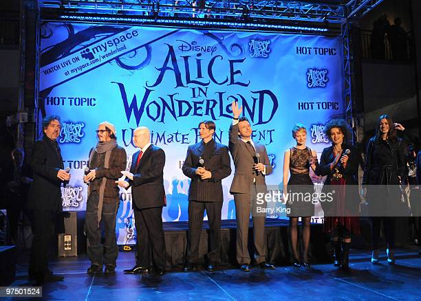 Director Tim Burton and actors Johnny Depp Matt Lucas Crispin Glover Michael Sheen Mia Wasikowska Helena Bonham Carter Anne Hathaway attend the...