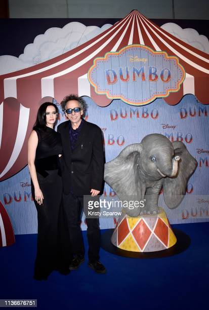 "Director Tim Burton and actress Eva Green attend the ""Dumbo"" Paris Gala Screening at Cinema Le Grand Rex on March 18 2019 in Paris France"