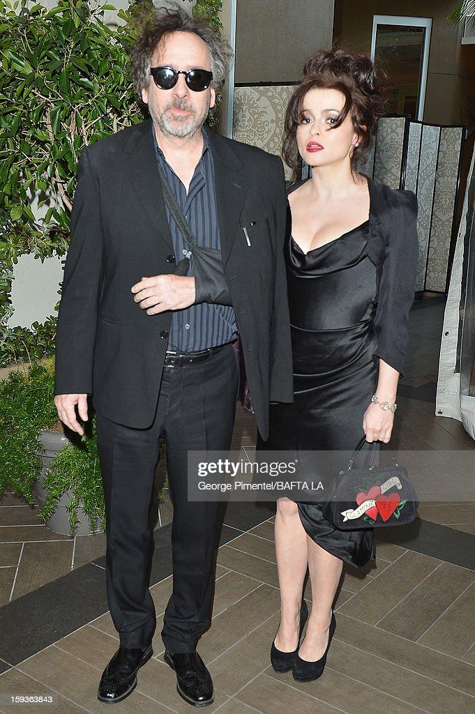 Director Tim Burton and actress Helena Bonham Carter arrive at the BAFTA Los Angeles 2013 Awards Season Tea Party held at the Four Seasons Hotel Los Angeles on January 12, 2013 in Los Angeles, California.
