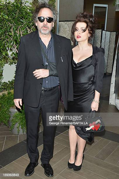 Director Tim Burton and actress Helena Bonham Carter arrive at the BAFTA Los Angeles 2013 Awards Season Tea Party held at the Four Seasons Hotel Los...