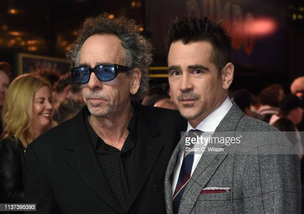 Director Tim Burton and Colin Farrell attend the 'Dumbo' European premiere at The Curzon Mayfair on March 21, 2019 in London, England.