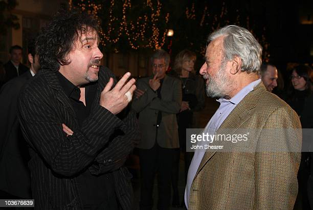 """Director Tim Burton and composer Stephen Sondheim arrive at the special screening of DreamWorks Pictures' """"Sweeney Todd"""" at the Paramount Theater on..."""