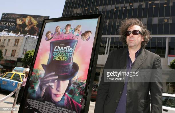 Director Tim Burton arrives at the Warner Bros Premiere of Charlie and the Chocolate Factory at the Grauman's Chinese Theatre on July 10 2005 in...