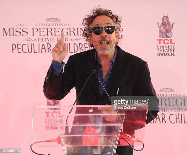 Director Tim Burton attends his Hand And Footprint Ceremony at TCL Chinese 6 Theatres on September 8 2016 in Hollywood California