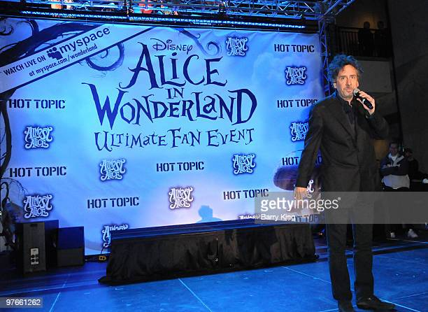 Director Tim Burton attends the 'Alice In Wonderland' Great Big Ultimate Fan Event at Hollywood Highland Courtyard on February 19 2010 in Hollywood...